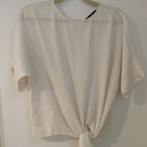 Tibi white silk tie waist top small
